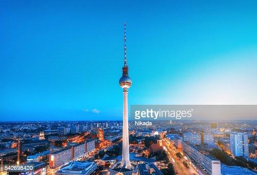 Berlin Skyline with TV tower at Alexanderplatz at dusk