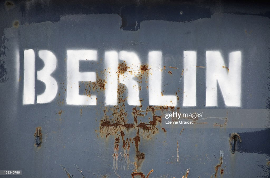 Berlin' stencil on metal container : Stock Photo