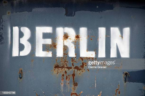 Berlin' stencil on metal container