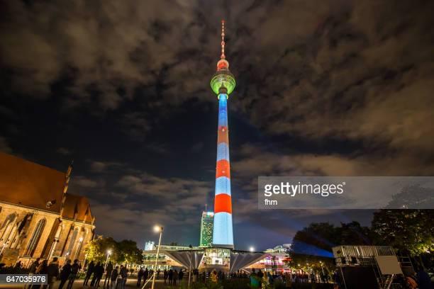 Berlin TV-Tower in special illumination (Berlin/ Germany)
