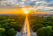 Berlin, Tiergarten, City, Cityscape, Germany,Skyline,Sunset,Victory Column