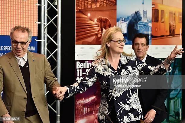 Berlinale Festival Director Dieter Kosslick and International Jury President Meryl Streep attend the International Jury press conference during the...