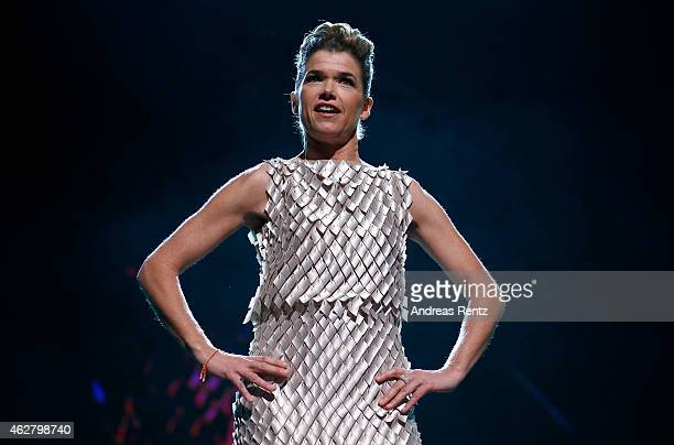 Berlinale festival hostess Anke Engelke appears on stage during the opening ceremony at the 65th Berlinale International Film Festival at Berlinale...