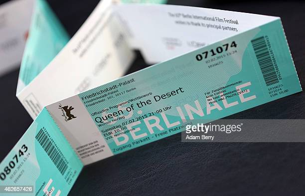 Berlinale movie ticket for Werner Herzog's 'Queen of the Desert' is seen prior to the opening of the Berlin International Film Festival or Berlinale...