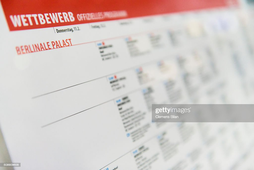 A Berlinale program schedule seen prior to the 66th Berlinale on February 7, 2016 in Berlin, Germany.