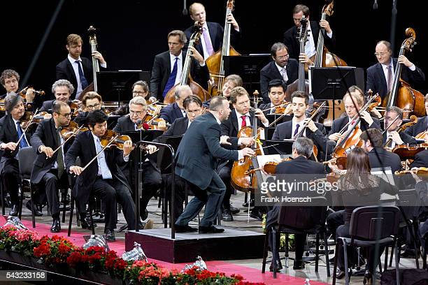Berliner Philharmoniker with Canadin director Yannick NezetSeguin perform live during a concert at the Waldbuehne on June 26 2016 in Berlin Germany