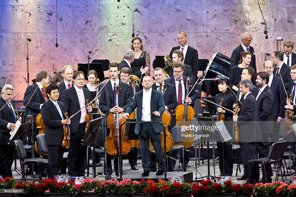 Berliner Philharmoniker with Canadin director Yannick Nezet-Seguin perform live during a concert at the Waldbuehne on June 26, 2016 in Berlin, Germany.