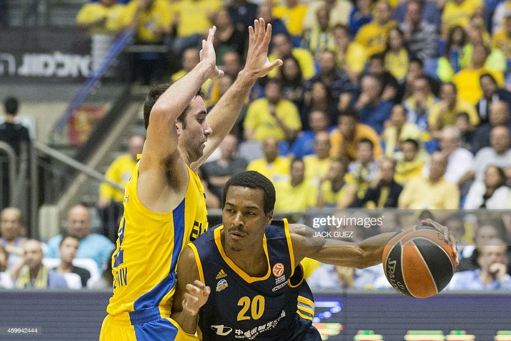 Berlin's American guard Alex Renfroe dribbles past Maccabi Electra Tel Aviv's Israeli forward Jake Cohen during their group B Euroleague basketball...