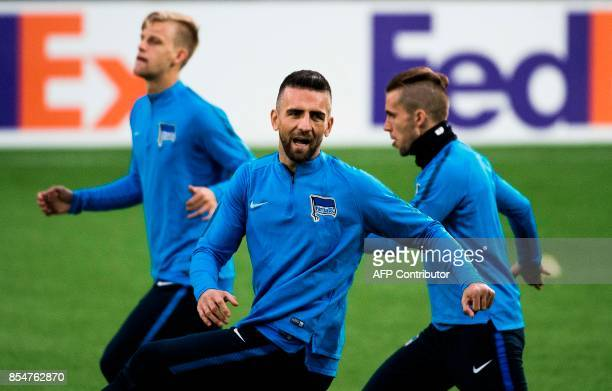 Berlin's Bosnian forward Vedad Ibisevic takes part in a training session at Jamtkraft Arena in Ostersund Sweden on September 27 on the eve of the...