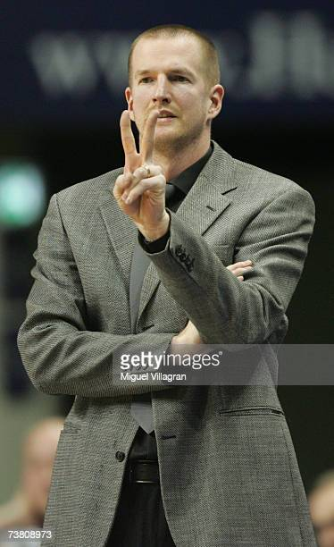 Berlins coach Henrik Roedl reacts during the Basketball Bundesliga game between Alba Berlin and Artland Dragons at the MaxSchmeling Hall on April 4...
