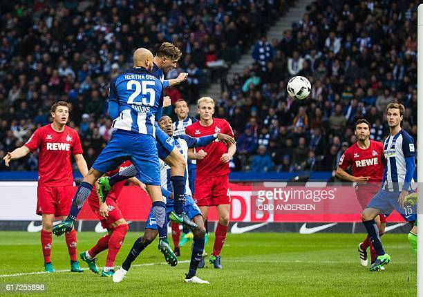 Berlin's defender Niklas Stark scores his side's 2nd goal during the German first division Bundesliga football match between Hertha BSC Berlin and FC...