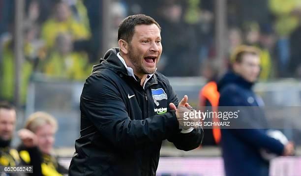 Berlin's Hungarian head coach Pal Dardai reacts during the German First division Bundesliga football match of Hertha Berlin vs Borussia Dortmund in...