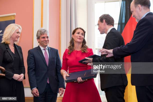 Berlin's Mayor Michael Mueller and Family Minister Manuela Schwesig award Melinda Gates with the OttoHahn Peace Medal for her philanthropic activity...