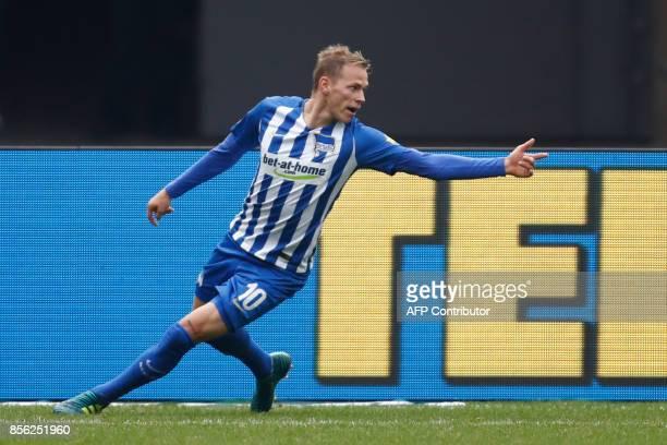 Berlin's Slovakian midfielder Ondrej Duda celebrate scoring the 12 goal during the German first division Bundesliga football match between Hertha...