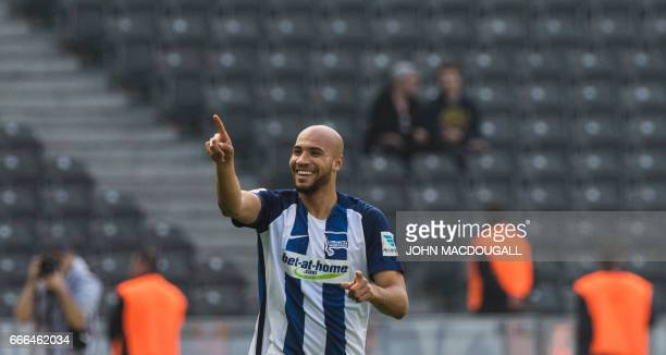Berlin's US defender John Anthony Brooks celebrates after scoring the opening goal during the Bundesliga match Hertha Berlin vs Augsburg in Berlin on...