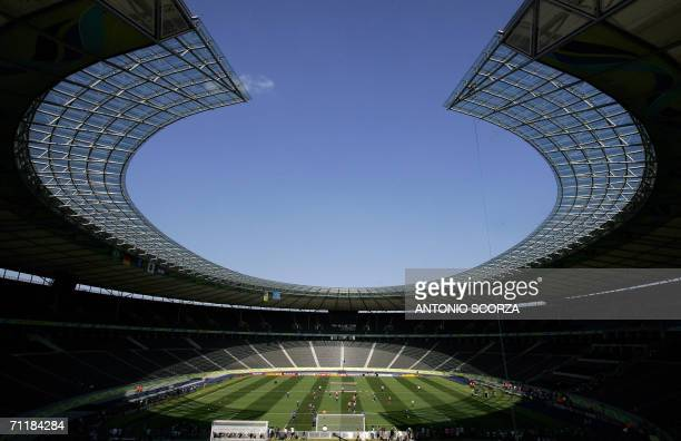 Brazil's national football team plays 12 June 2006 during a training session at the Olympiastadion in Berlin where they will face Croatia the next...