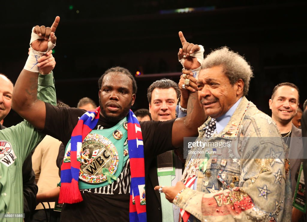 Bermane Stiverne and promoter <a gi-track='captionPersonalityLinkClicked' href=/galleries/search?phrase=Don+King&family=editorial&specificpeople=171346 ng-click='$event.stopPropagation()'>Don King</a> pose for photos after Stiverne defeated Chris Arreola in their WBC Heavyweight Championship match at Galen Center on May 10, 2014 in Los Angeles, California. Stiverne won in a six round technical knockout.