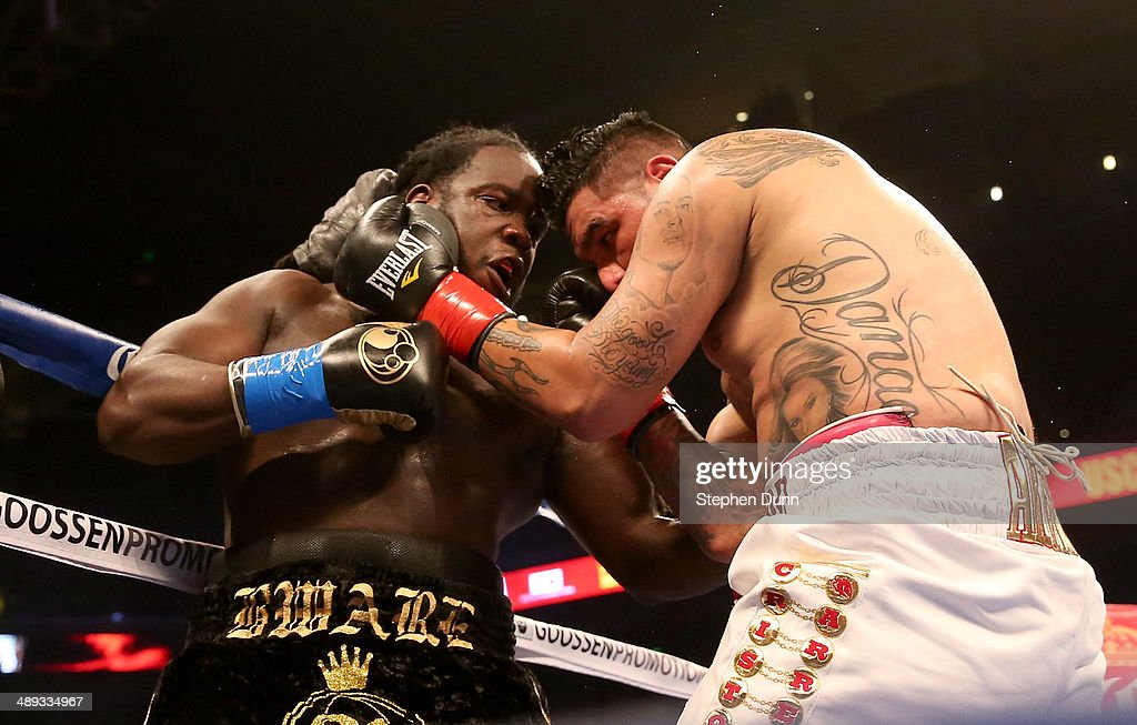 Bermane Stiverne battles Chris Arreola in their WBC Heavyweight Championship match at Galen Center on May 10, 2014 in Los Angeles, California. Stiverne won in a six round technical knockout.