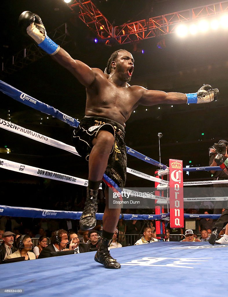 Bermane Stiverne celebrates after the referee stopped the fight against Chris Arreola after stopping WBC Heavyweight Championship match at Galen Center on May 10, 2014 in Los Angeles, California. Stiverne won in a six round technical knockout.