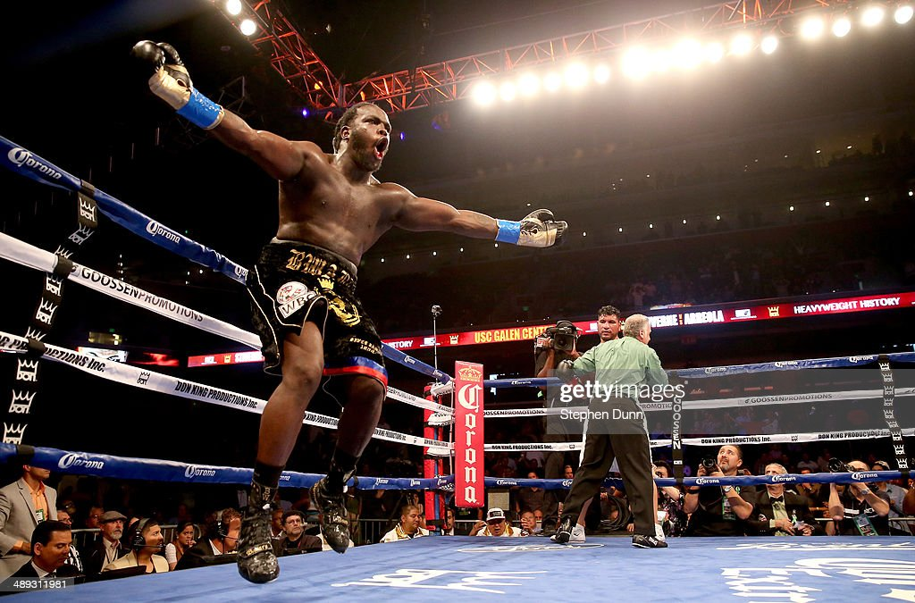<a gi-track='captionPersonalityLinkClicked' href=/galleries/search?phrase=Bermane+Stiverne&family=editorial&specificpeople=11210776 ng-click='$event.stopPropagation()'>Bermane Stiverne</a> celebrates as the referee holds <a gi-track='captionPersonalityLinkClicked' href=/galleries/search?phrase=Chris+Arreola&family=editorial&specificpeople=3990515 ng-click='$event.stopPropagation()'>Chris Arreola</a> after stopping WBC Heavyweight Championship match at Galen Center on May 10, 2014 in Los Angeles, California. Stiverne won in a six round technical knockout.