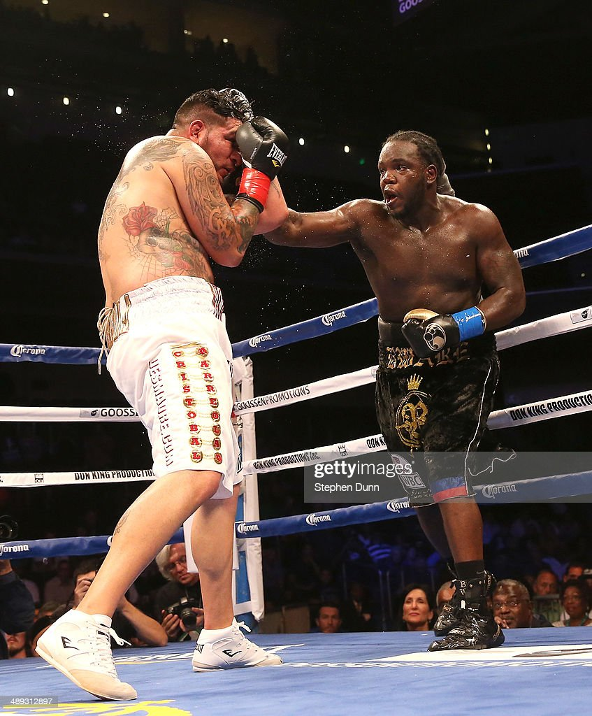 Bermane Stiverne throws a punch at Chris Arreola in their WBC Heavyweight Championship match at Galen Center on May 10, 2014 in Los Angeles, California. Stiverne won in a six round technical knockout.