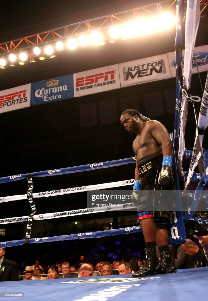 Bermane Stiverne waits for the bell against Chris Arreola in their WBC Heavyweight Championship match at Galen Center on May 10, 2014 in Los Angeles, California. Stiverne won in a six round technical knockout.