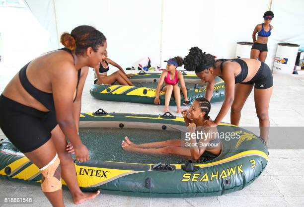 Bermuda cool down in ice baths after playing a match in the Rugby Sevens on day 2 of the 2017 Youth Commonwealth Games at QE Sports Centre on July 19...