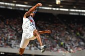 Bermuda's Tyrone Smith competes in the men's long jump during the IAAF Diamond League Anniversary Games athletics meeting at the Queen Elizabeth...