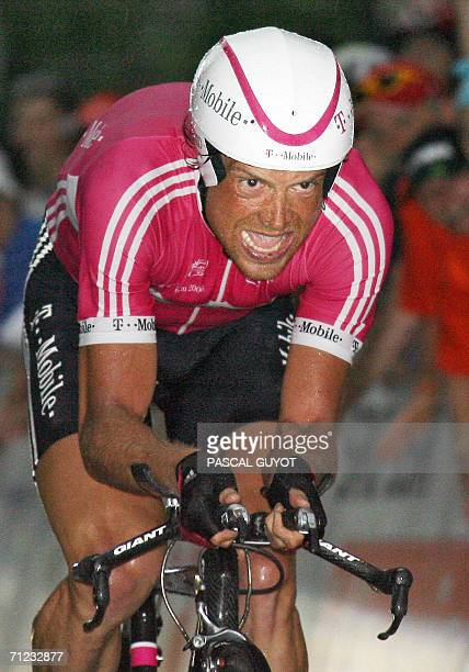 German rider Jan Ullrich rides during the ninth and last stage of the 70th 'Tour de Suisse' cycling race 18 June 2006 in Bern Ullrich won ahead of...