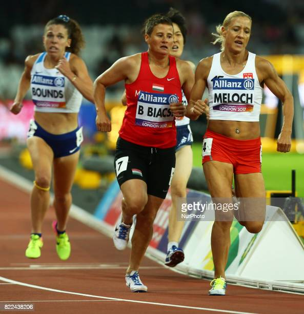 Bernadett Biacsi of Hungary and Arleta Melloch of Poland compete Women's 1500m T20 Final during World Para Athletics Championships Day Three at...