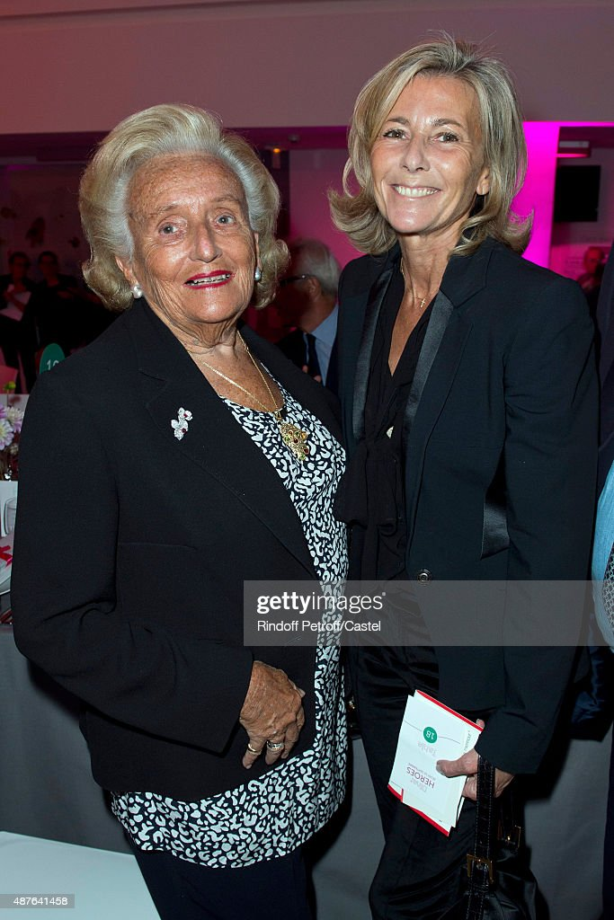 Bernadette Chirac and Claire Chazal attend the Auction Dinner to Benefit 'Institiut Imagine' on September 10, 2015 in Paris, France.