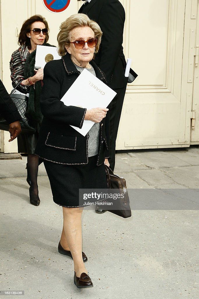 <a gi-track='captionPersonalityLinkClicked' href=/galleries/search?phrase=Bernadette+Chirac&family=editorial&specificpeople=206432 ng-click='$event.stopPropagation()'>Bernadette Chirac</a> attends the Chanel Fall/Winter 2013 Ready-to-Wear show as part of Paris Fashion Week at Grand Palais on March 5, 2013 in Paris, France.