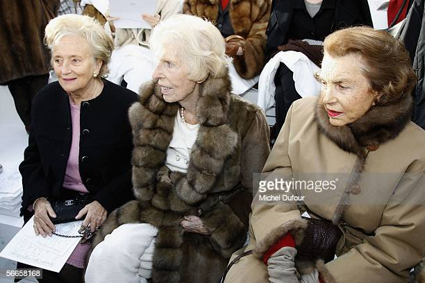 Bernadette Chirac Claude Pompidou Liliane Bettancourt are seen backstage at the Chanel fashion show as part of Paris Fashion Week Spring/Summer 2006...