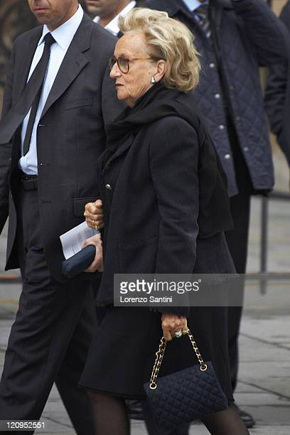 Bernadette Chirac gathers at Notre Dame Cathedral for the funeral of Cardinal Lustiger on August 10 2007 in Paris France