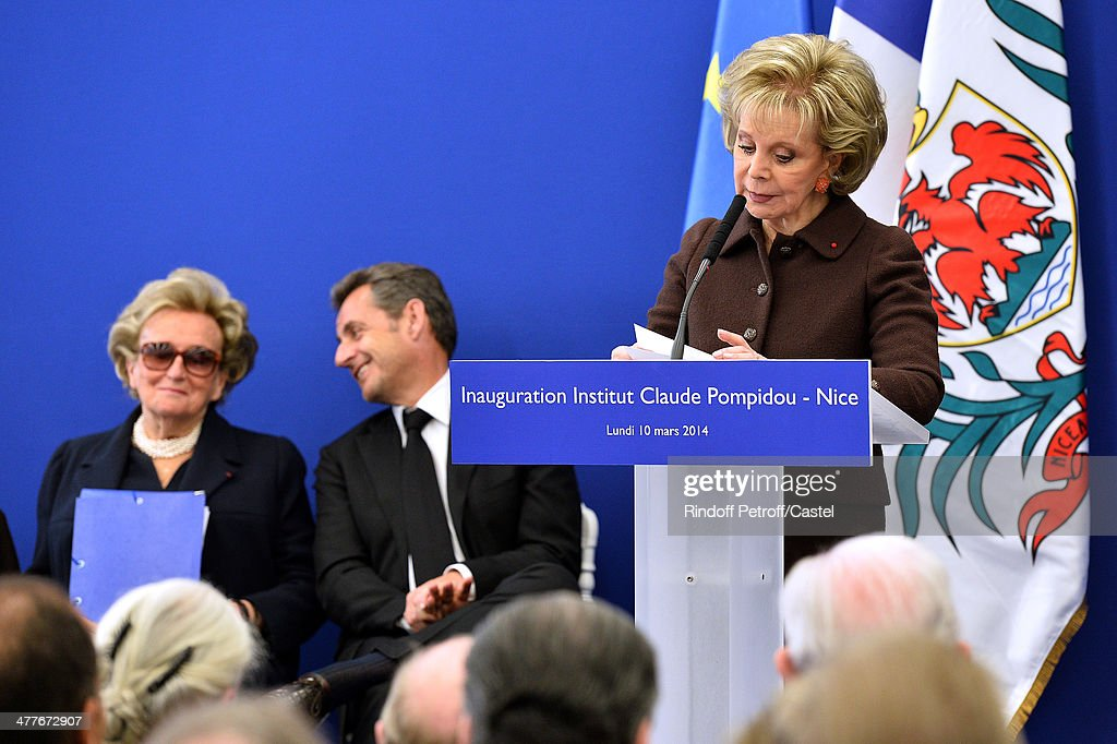 Bernadette Chirac, Nicolas Sarkozy and Lily Safra attend the inauguration of the Claude Pompidou Institute dedicated to the fight against Alzheimer's disease. In Nice, on March 10, 2014.