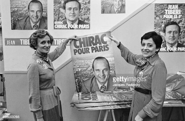 Bernadette Chirac wife of mayoral candidate for Paris Jacques Chirac holding an election poster with Xaviere Tiberi in the Chirac committee room...
