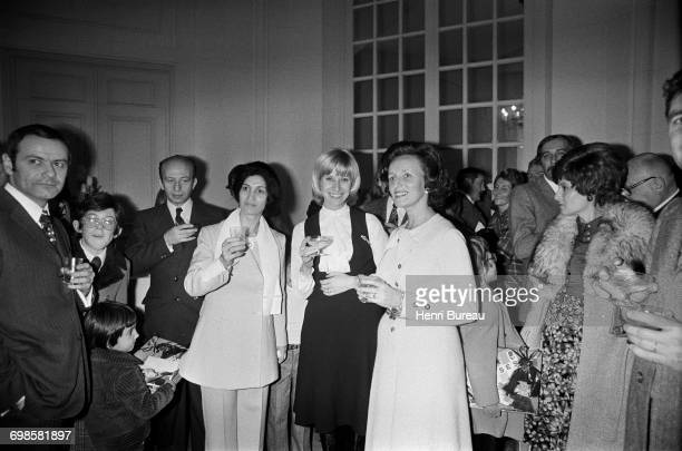 Bernadette Chirac wife of the French Prime Minister with Danielle Gilbert who hosted the party at the Christmas tree reception held in Matignon Paris...