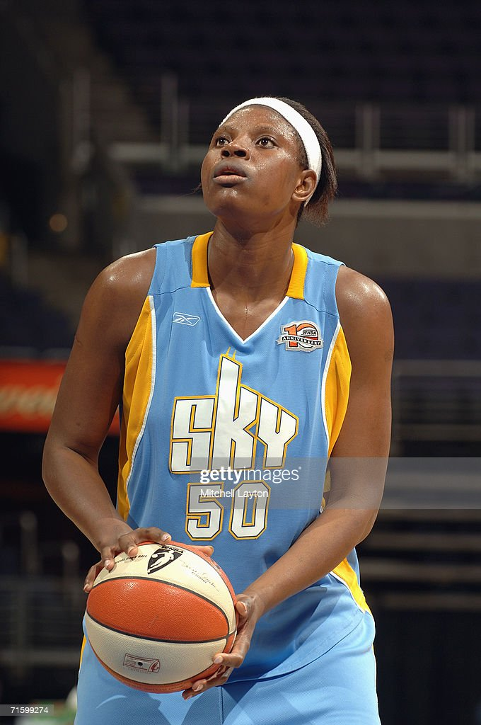 Bernadette Ngoyisa #50 of the Chicago Sky readies for the freethrow against the Washington Mystics on July 27, 2006 at MCI Center in Washington, D.C. The Mystics won 92-74.