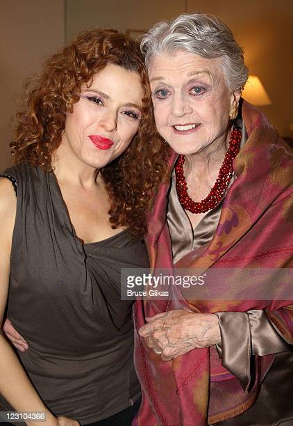 Bernadette Peters and Angela Lansbury pose backstage at the hit musical 'Follies' on Broadway at The Marquis Theateron August 30 2011 in New York City