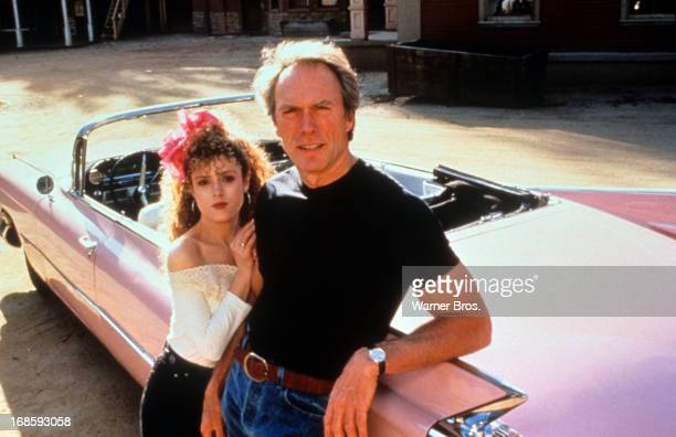 Bernadette Peters and Clint Eastwood in on set of the film 'Pink Cadillac' 1989