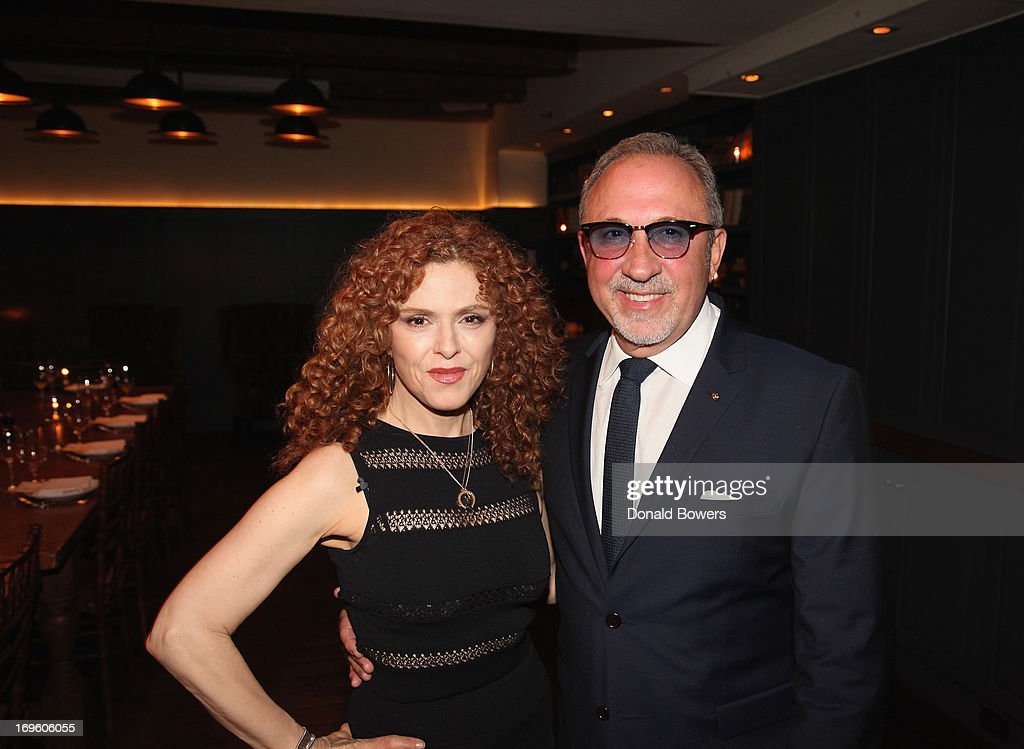 <a gi-track='captionPersonalityLinkClicked' href=/galleries/search?phrase=Bernadette+Peters&family=editorial&specificpeople=203332 ng-click='$event.stopPropagation()'>Bernadette Peters</a> and <a gi-track='captionPersonalityLinkClicked' href=/galleries/search?phrase=Emilio+Estefan&family=editorial&specificpeople=210517 ng-click='$event.stopPropagation()'>Emilio Estefan</a> attend The Launch of AARP's 'Life Reimagined' hosted by <a gi-track='captionPersonalityLinkClicked' href=/galleries/search?phrase=Emilio+Estefan&family=editorial&specificpeople=210517 ng-click='$event.stopPropagation()'>Emilio Estefan</a> and Dan Marino at La Bottega Trattoria at The Soho House on May 28, 2013 in New York City.