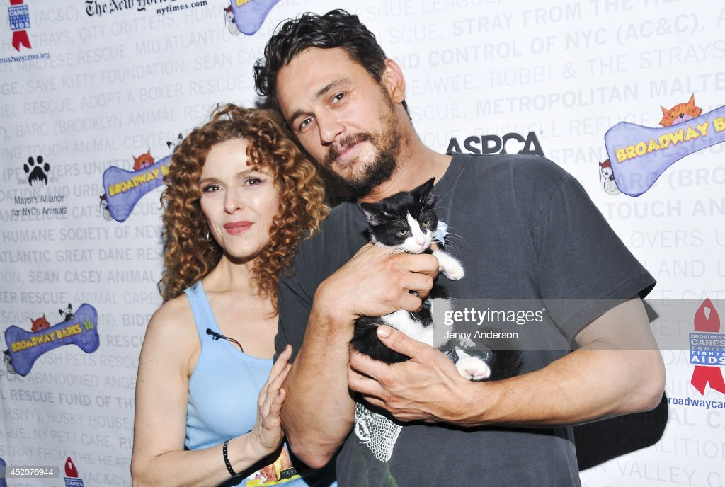 <a gi-track='captionPersonalityLinkClicked' href=/galleries/search?phrase=Bernadette+Peters&family=editorial&specificpeople=203332 ng-click='$event.stopPropagation()'>Bernadette Peters</a>, <a gi-track='captionPersonalityLinkClicked' href=/galleries/search?phrase=James+Franco&family=editorial&specificpeople=577480 ng-click='$event.stopPropagation()'>James Franco</a> and kitten Totes Magotes attend Broadway Barks 16 at Shubert Alley on July 12, 2014 in New York City.