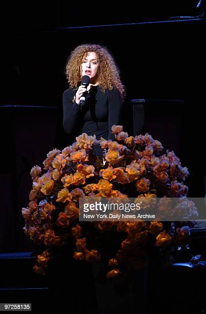 Bernadette Peters sings during a memorial for legendary Broadway lyricist Adolph Green at the Shubert Theater Green died in his sleep in October at...