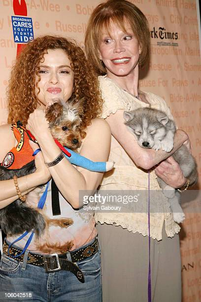 Bernadette Peters with dog Molly and Mary Tyler Moore with dog Timber