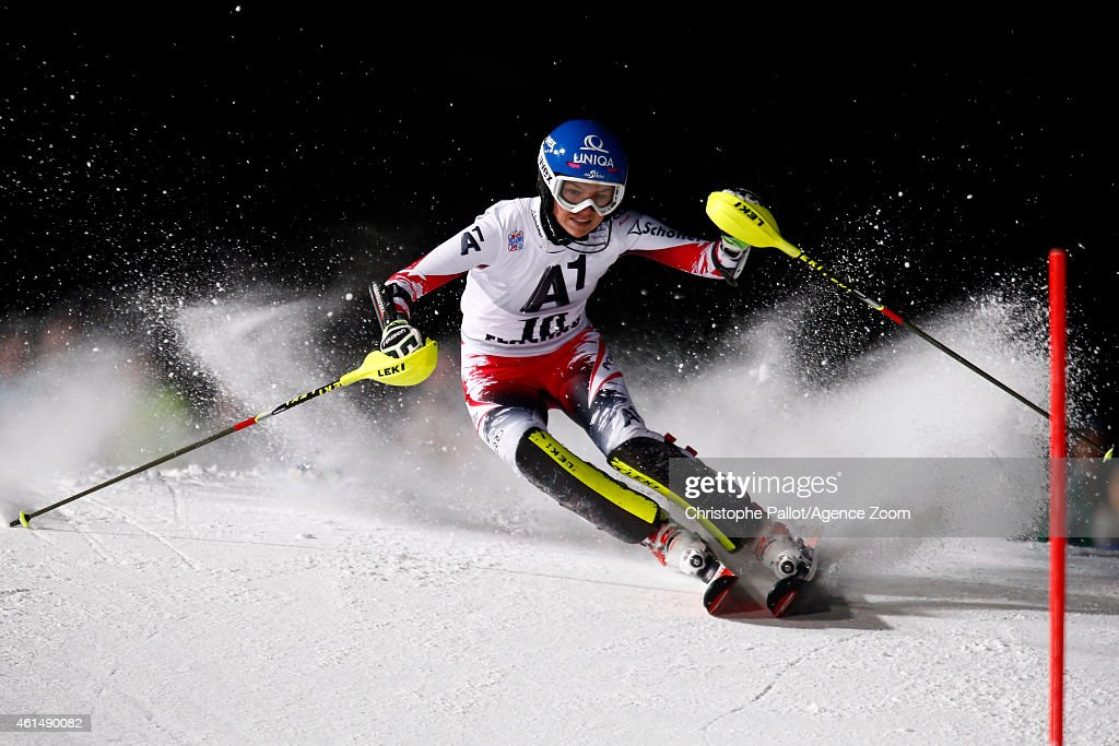 <a gi-track='captionPersonalityLinkClicked' href=/galleries/search?phrase=Bernadette+Schild&family=editorial&specificpeople=7408037 ng-click='$event.stopPropagation()'>Bernadette Schild</a> of Austria competes during the Audi FIS Alpine Ski World Cup Women's Slalom on January 13, 2015 in Flachau, Austria.