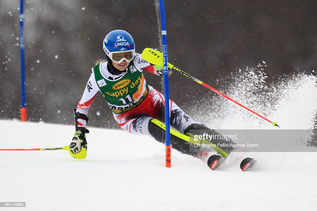 <a gi-track='captionPersonalityLinkClicked' href=/galleries/search?phrase=Bernadette+Schild&family=editorial&specificpeople=7408037 ng-click='$event.stopPropagation()'>Bernadette Schild</a> of Austria competes during the Audi FIS Alpine Ski World Cup Women's Slalom on February 22, 2015 in Maribor, Slovenia.
