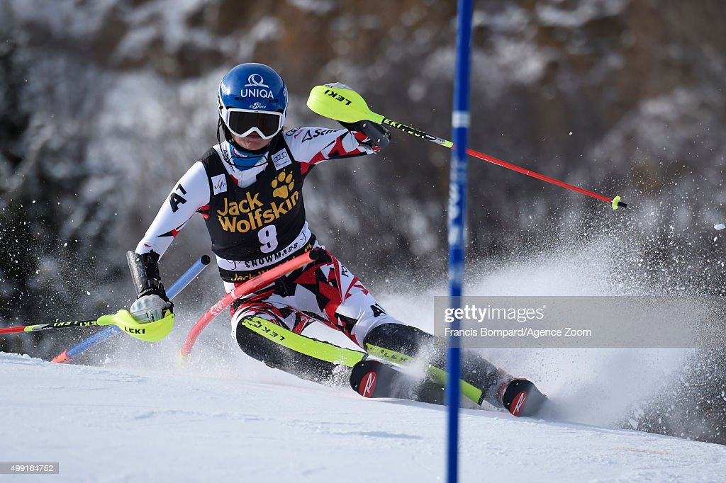 <a gi-track='captionPersonalityLinkClicked' href=/galleries/search?phrase=Bernadette+Schild&family=editorial&specificpeople=7408037 ng-click='$event.stopPropagation()'>Bernadette Schild</a> of Austria competes during the Audi FIS Alpine Ski World Cup Women's Slalom on November 29, 2015 in Aspen, Colorado.