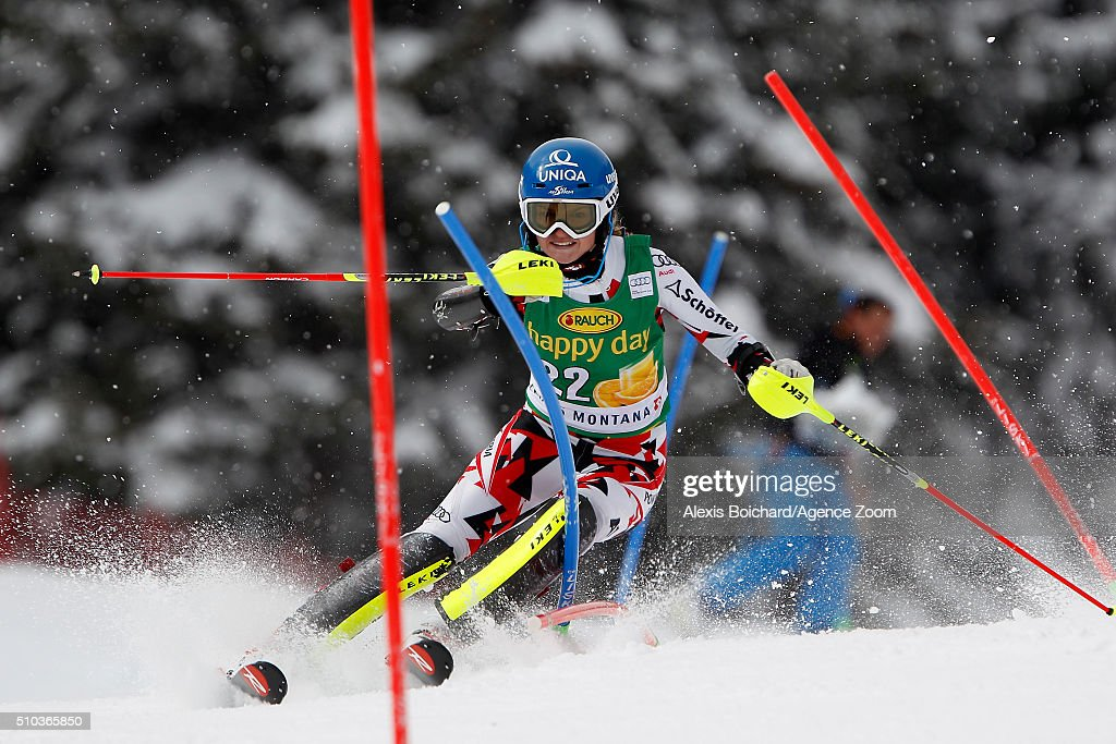 <a gi-track='captionPersonalityLinkClicked' href=/galleries/search?phrase=Bernadette+Schild&family=editorial&specificpeople=7408037 ng-click='$event.stopPropagation()'>Bernadette Schild</a> of Austria competes during the Audi FIS Alpine Ski World Cup Women's Slalom on February 15, 2016 in Crans Montana, Switzerland.