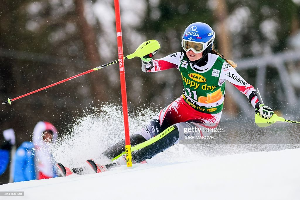 <a gi-track='captionPersonalityLinkClicked' href=/galleries/search?phrase=Bernadette+Schild&family=editorial&specificpeople=7408037 ng-click='$event.stopPropagation()'>Bernadette Schild</a> of Austria competes during the first leg of the women's FIS World Cup race in Maribor, Slovenia on February 22, 2015.