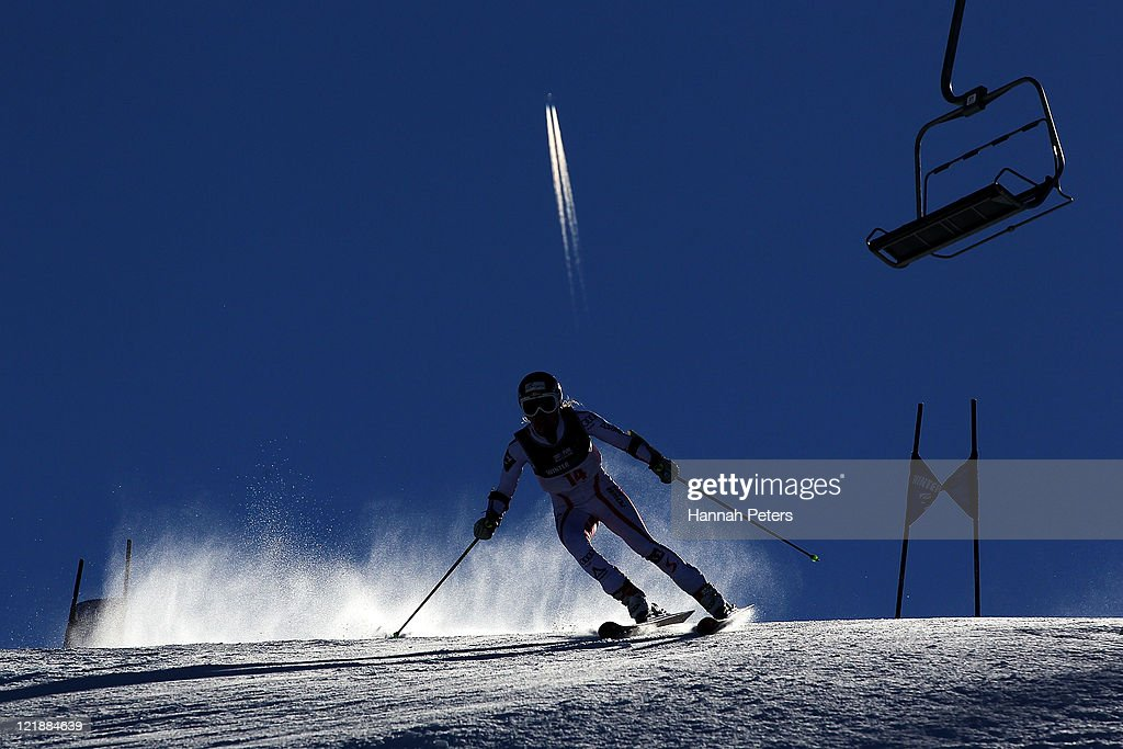 <a gi-track='captionPersonalityLinkClicked' href=/galleries/search?phrase=Bernadette+Schild&family=editorial&specificpeople=7408037 ng-click='$event.stopPropagation()'>Bernadette Schild</a> of Austria competes in the Womens Giant Slalom during day 11 of the Winter Games NZ at Coronet Peak on August 23, 2011 in Queenstown, New Zealand.
